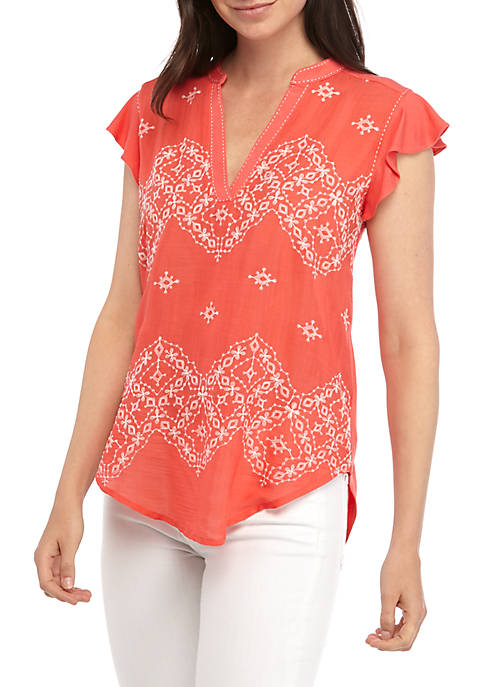 New Directions® Short Sleeve Split Neck Embroidered Front