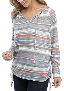 3/4 Sleeve Stripe Keyhole Neck with Cinched Side Top