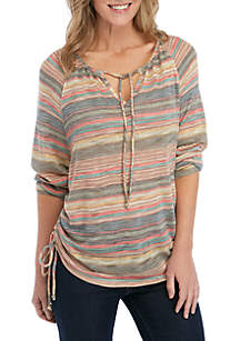 New Directions® Stripe Tie Front Knit Top