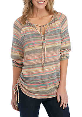 New Directions® Stripe Tie Front Knit Top ... e13f00837