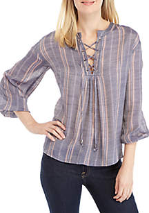 New Directions® Lace-Up Striped Linen Top
