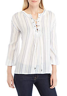 Long Sleeve Striped Lace-Up Linen Top