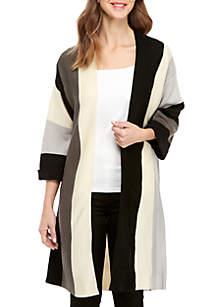 3/4 Sleeve Stripe Colorblock Cardigan
