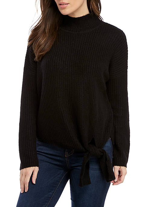 New Directions® Long Sleeve Mock Neck Tie Front