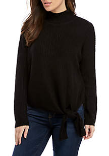 New Directions® Long Sleeve Mock Neck Tie Front Sweater