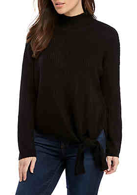 New Directions® Long Sleeve Mock Neck Tie Front Sweater ... 3435911ea