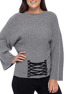 Long Sleeve Corset Front Crop Pullover