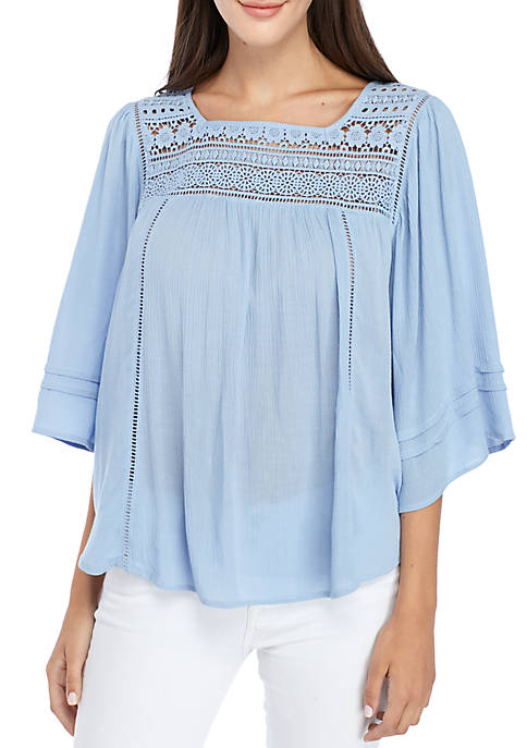 New Directions® Three-Quarter Sleeve Crochet Yoke Peasant Blouse