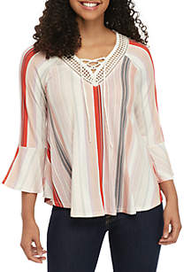 New Directions® Stripe Knit Top with Crochet Neck