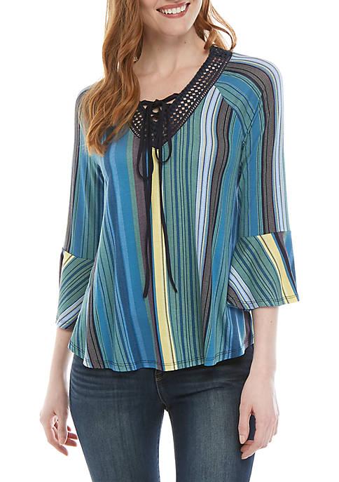 New Directions® Knit 3/4 Sleeve V Neck Stripe