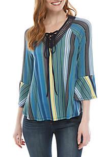 New Directions® Knit 3/4 Sleeve V Neck Stripe Top
