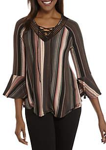 Three-Quarter Sleeve Stripe Knit Crochet Top