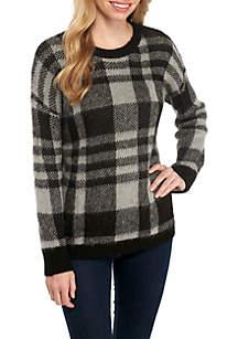 Long Sleeve Plaid Eyelash Pullover Sweater