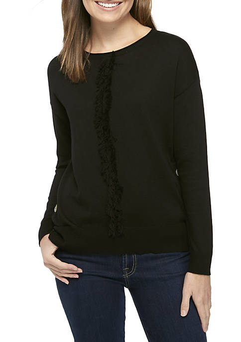 New Directions® Three-Quarter Fringe-Front Sweater