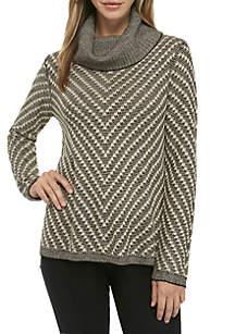 Long Sleeve Drop Shoulder Lurex Stitch Pullover
