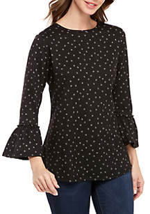 New Directions® 3/4 Bell Sleeve Scattered Dots Hacci Top