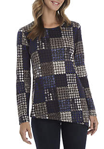 Long Sleeve Asymmetrical Houndstooth Hacci Top