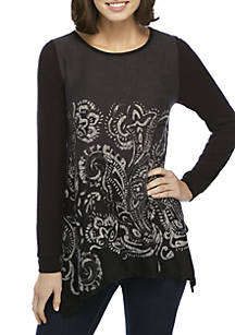 c073920e11f New Directions®. New Directions® Long Sleeve Allover Print Shark-Bite Hacci  Top