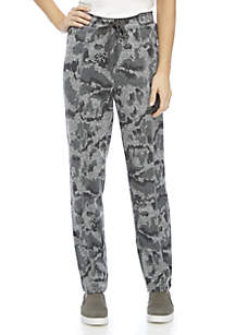 Straight Leg Allover Printed Hacci Pants