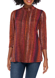 Three-Quarter Sleeve Mock Neck Printed Hacci Top
