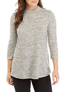 4e0c00a5ee15b0 ... New Directions® 3 4 Mock Neck Hacci Swing Top