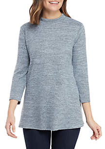 New Directions® 3/4 Mock Neck Hacci Swing Top