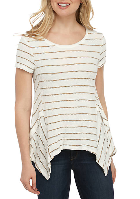 New Directions® Shark Bite Textured Stripe Knit Tee