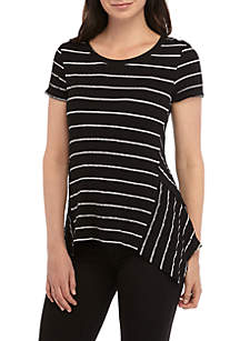 New Directions® Plus Size Shark Bite Textured Knit Stripe Tee