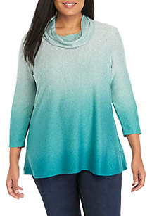 Long Sleeve Cowl Neck Ombre Hacci Sweater