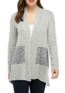 New Directions® Long Sleeve Hacci Leopard Completer Cardigan