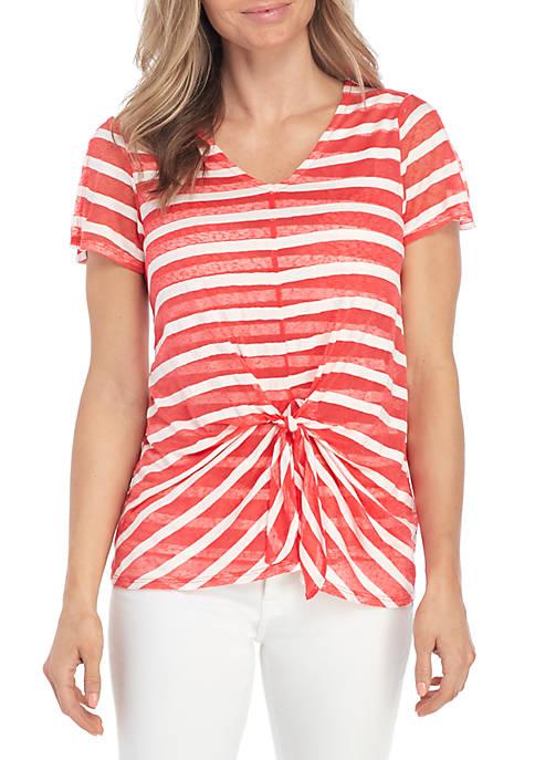 New Directions® Tie Front Burnout T Shirt