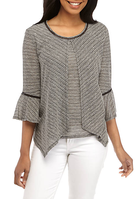 New Directions® 3/4 Sleeve Textured Stripe Flyaway Top