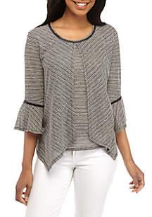66fdafd7b ... New Directions® 3 4 Sleeve Textured Stripe Flyaway Top