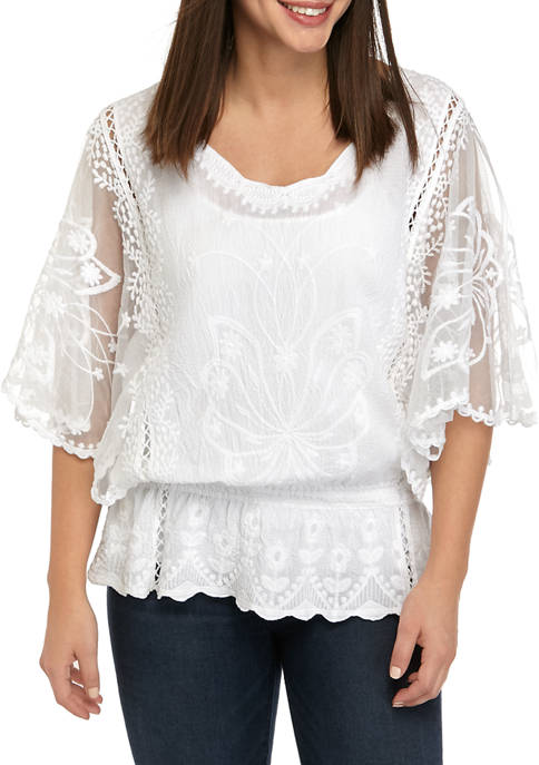 New Directions® Womens Flutter Sleeve Embellished Top
