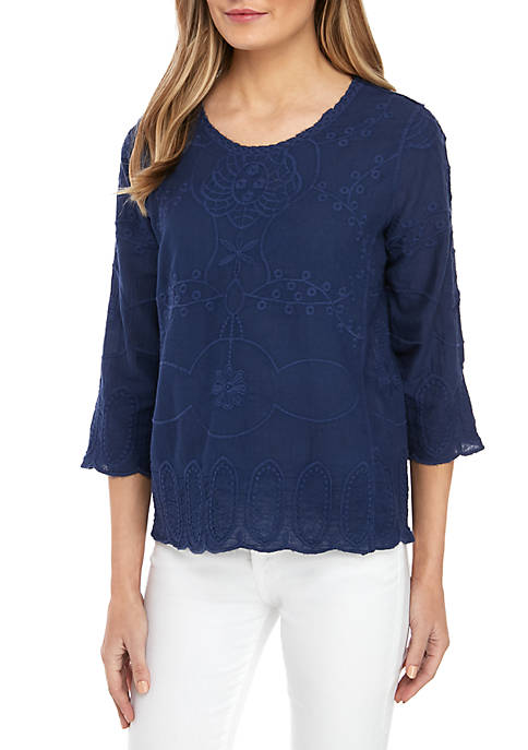 3/4 Tonal Embroidered Linen Top