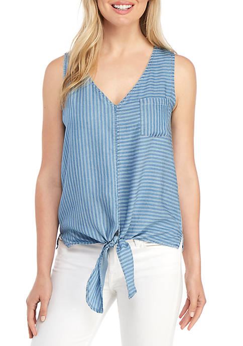 New Directions® Sleeveless Striped Tie Front Top