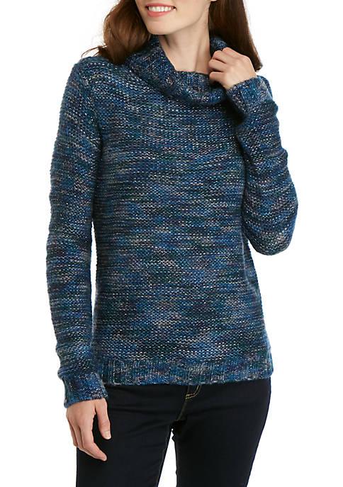 New Directions® Multi Stripe Lurex Cowl Neck Sweater