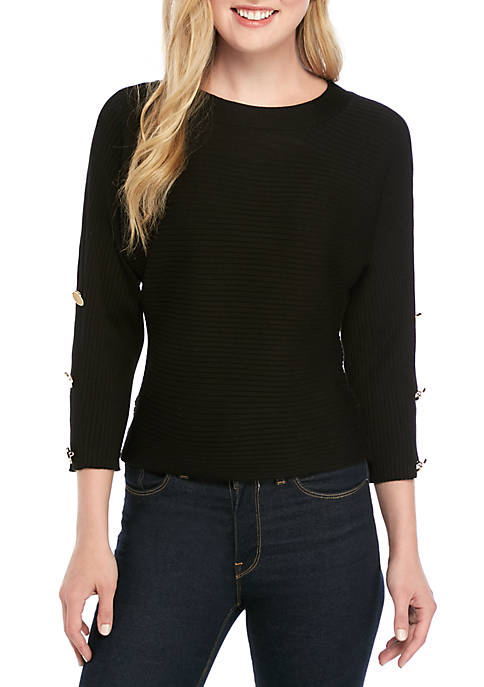Ottoman Rib Knit Dolman Sleeve Top with Buttons