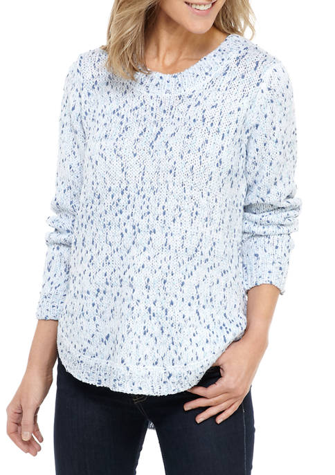 New Directions® Womens Chenille Bubble Sleeve Sweater