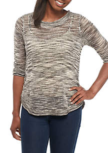 Petite Three-Quarter Sleeves Pointelle Sweater