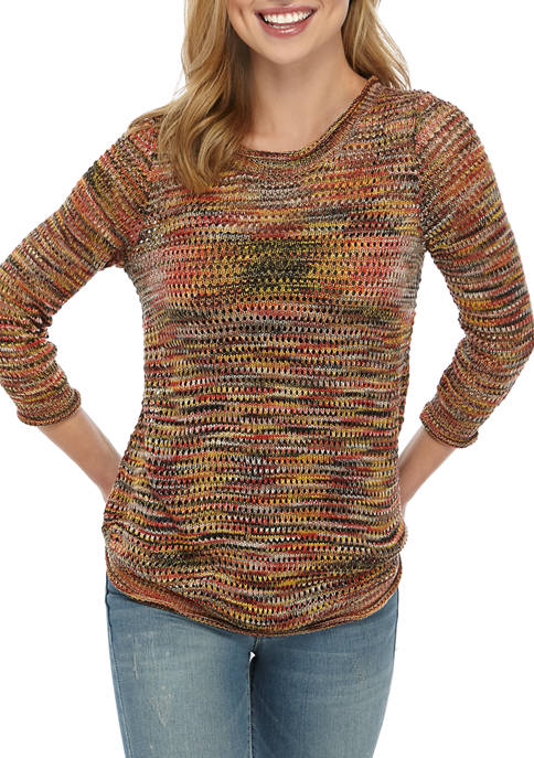 New Directions® Petite Pointelle Pullover
