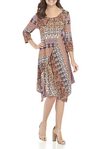 Petite 3/4 Sleeve Asymmetrical Print Dress
