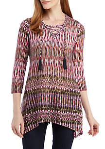 Petite 3/4 Sleeve Lace-Up Front Wild Orchid Print