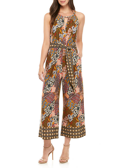 New Directions® Petite Sleeveless Patchwork Amber Jumpsuit