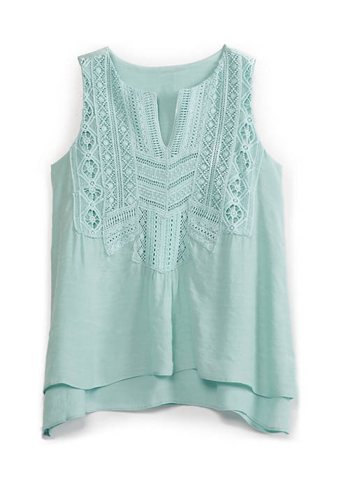 New Directions® Petite Crochet Trim Tank