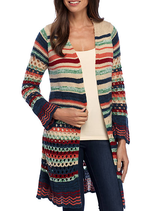 New Directions® Petite Long Sleeve Stripe Duster Cardigan