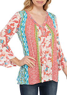 New Directions® Petite Printed Peasant Top With Rope Neck Trim