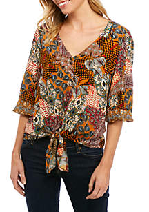 New Directions® Petite 3/4 Sleeve Button Down Textured Tie Front Top