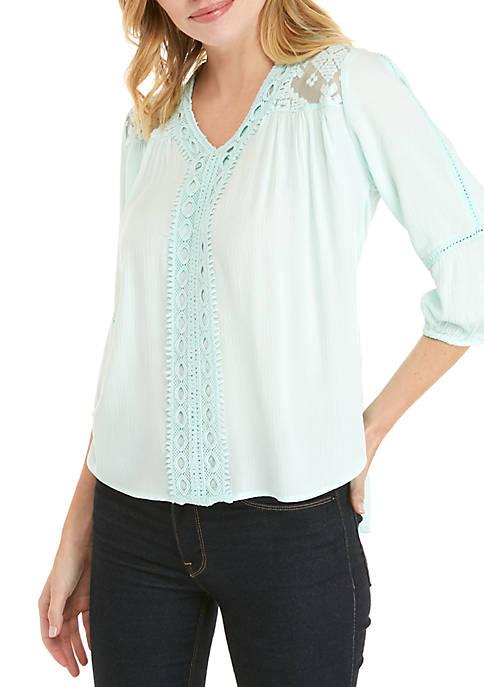 Petite 3/4 Sleeve Solid Linen Slub Blouse