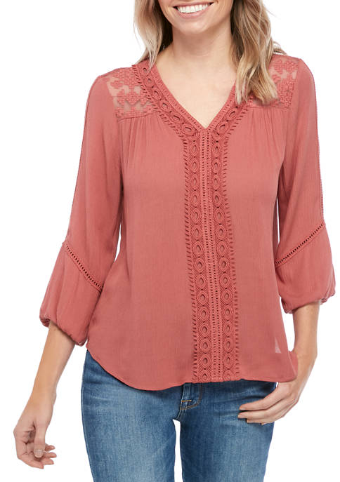 New Directions® Petite Woven Peasant Blouse